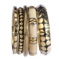 Brass & bone bangle set