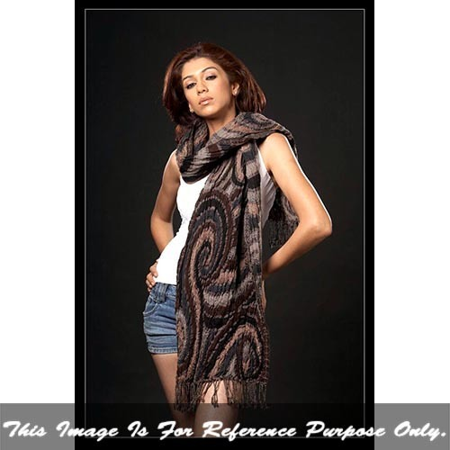 Ladies Lycra Jacquard Stole With Fringes