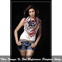 Ladies Ikat Square Scarf With Fringes