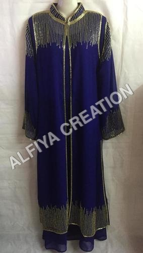 Beautiful gold beaded sequins work fancy jalabiya kaftan