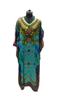 Ladies Satin Digital Print Kaftan