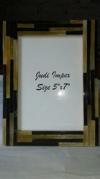 Natural horn brown sprips photo frame