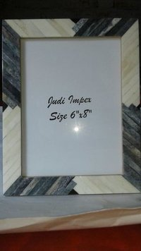 White & gray bone photo frame