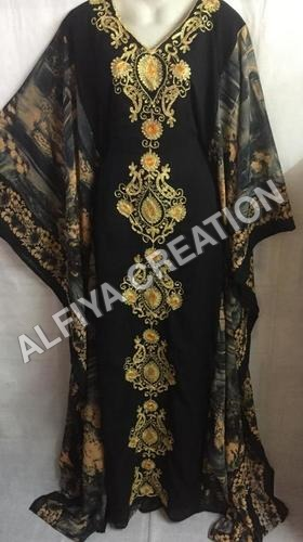 Georgette fancy embroidered black farasha kaftan dress