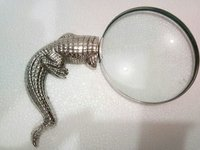 Magnifying glass with brass crocodile designed handle