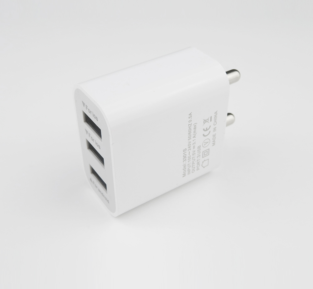 5V 3.1A Triple Port AC Power Adapter Wall Home Charger