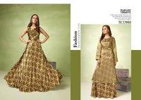 Satin Digital Printed Gown