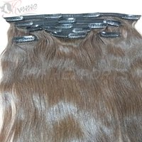 100% Indian Human Bundles Clip Natural Remy Extension Hair.