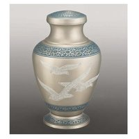 Silver with Doves Memorial Urn