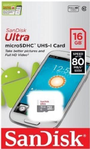 SanDisk Ultra microSDHC MicroSD 16GB 80MB/S C-10 Memory Card