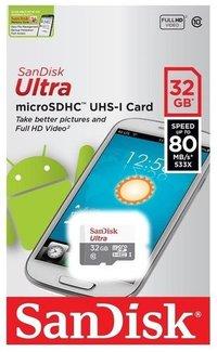 SanDisk Ultra microSDHC MicroSD 32GB 80MB/S C10 Memory Card