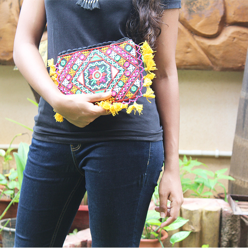 Indian Banjara Embroidery and Mirror Work Clutch Bag