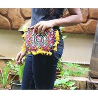 Indian Banjara Embroidery and Mirror Work Clutch Bag
