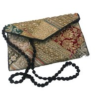 Indian Zari Embroidery Gold Color Wedding Collection Clutch Bags
