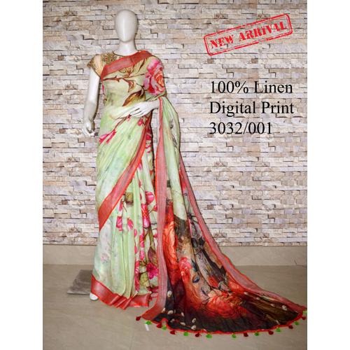 Ladies Digital Printed Linen Saree