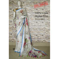 Ladies digital print linen sarees