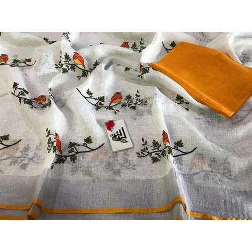 Ladies Linen Bird Embroidery Saree