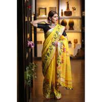 Ladies Linen Jacquard Sarees