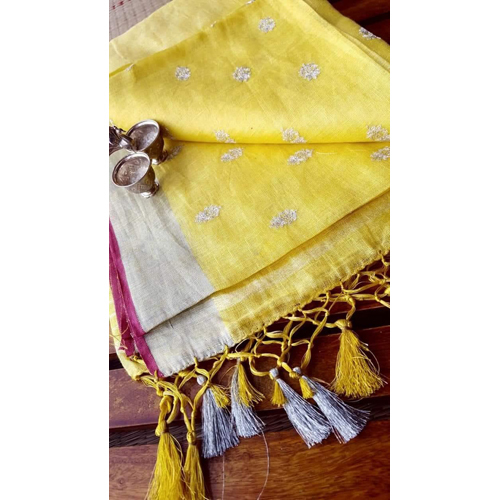 Ladies embroidery design linen sarees