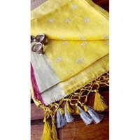 Ladies embroidery design linen sarees