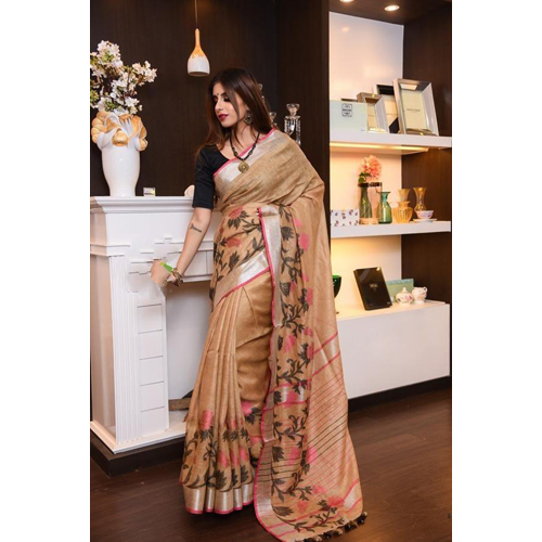 Ladies jamdani jykat weaving Pure Linen Sarees
