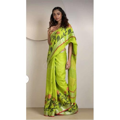 Jamdani jykat weaving linen sarees