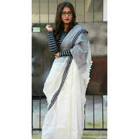 Ladies Plain Linen Sarees