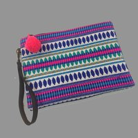 100% Cotton Indian Bags Zipper Pouch Style Clutch Pouch Bag