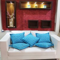 Indian Handmade Embroidery Mirror Work Decorative Square Cushion Covers
