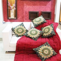 Indian Naptol Peacock Mandala Print Decorative Square Cushion Covers