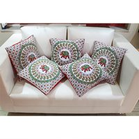 Handmade Printed Mandala Decorative Yellow Colour Square Cushion Covers