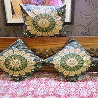Indian Naptol Peacock Mandala Print Decorative Square Cushion Covers