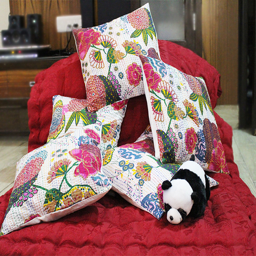 White Color 16 Inch Throw Kantha Work Hand Stitched Floral Print Cushion Cover