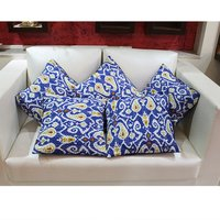Kantha Work Hand Stitched Floral Print Cushion Cover