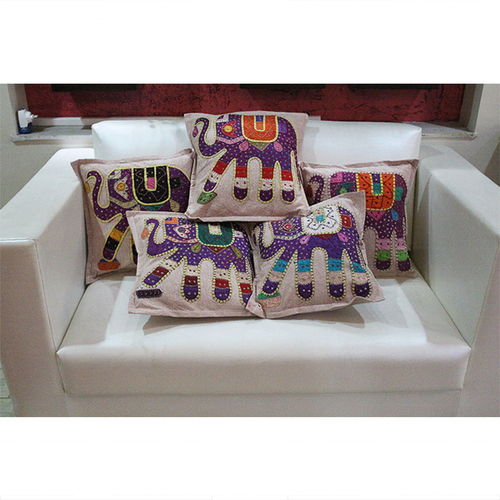 Traditional Patchwork Jogi Elephant Cushion Cover