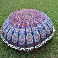 Indian Cotton Ottoman Handmade Mandala Peacock Round Floor Cushion Cover