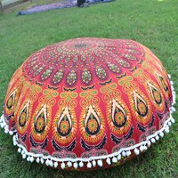 Cotton Ottoman Handmade Mandala Peacock Round Floor Cushion Cover