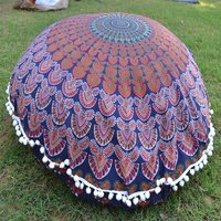 100% Cotton Ottoman Ethnic Handmade Mandala Feather Round Floor Cushion Cover