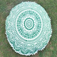Cotton Ottoman Ethnic Mandala Round Floor Cushion Cover