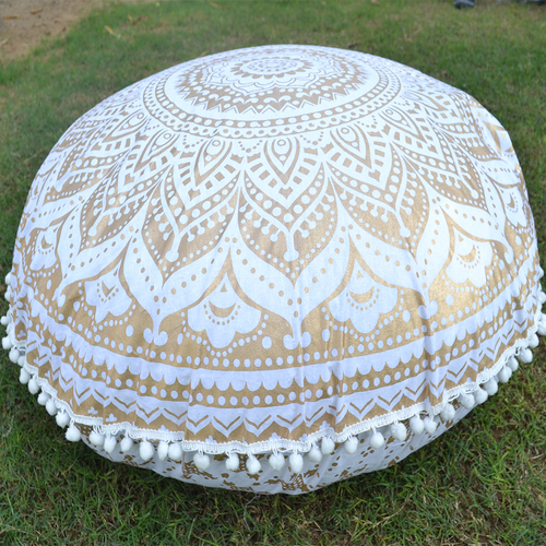 Cotton Ottoman Traditional HandPrint Mandala Gold Ombre Round Floor Cushion Cover