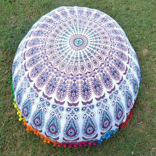 Indian Cotton Pom Pom Round Floor Ethnic Handmade Cushion Cover