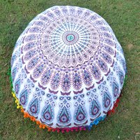 Indian Cotton Pom Pom Round Floor Ethnic Handmade Cushion Cover