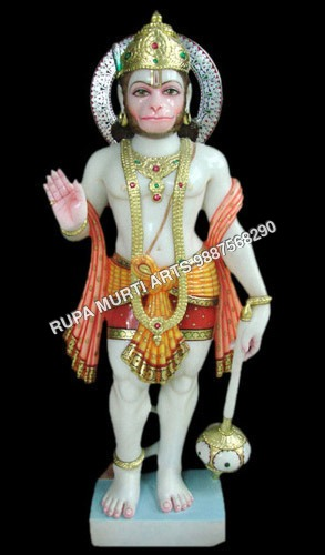 Marble Hanuman Statue with Mace