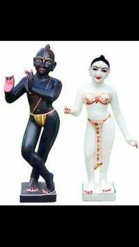 Black Krishna White Radha Marble Statue