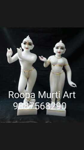 Handcrafted Radha Krishna Marble Statue