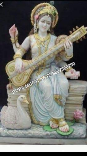 Stone Saraswati Statue with Veena