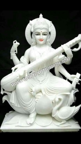 Saraswati Sitting Marble Statue Playing Sitar On Lotus