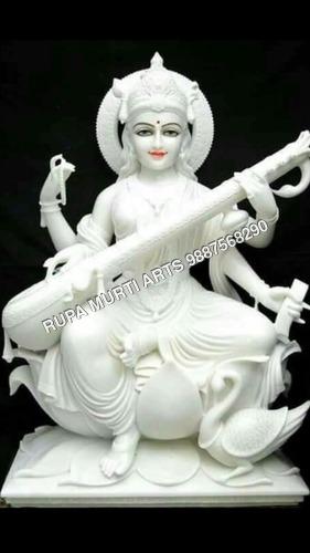Saraswati Sitting Marble Statue Playing Sitar On Lotus