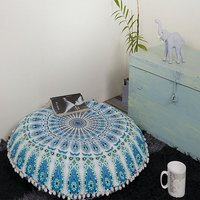 Indian Round Throw Seating ottomans Handmade Tapestry Cushion Cover