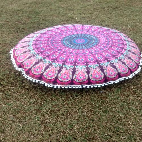 Indian Mandala Round Seating Pom Pom Handmade 100% Cotton Cushion Cover